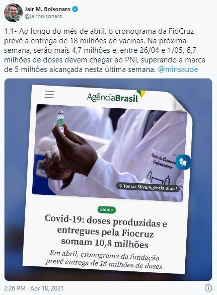 Bolsonaro diz que Fiocruz entrega 18 milhões de doses em abril; Nesta semana 4,6 milhões ainda devem ser entregues