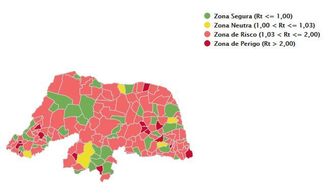 121 municípios do RN estão em risco ou zona de perigo para taxa de transmissibilidade da covid-19