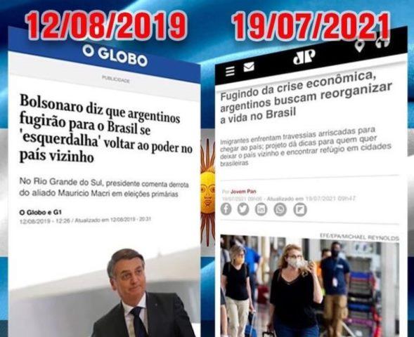 Bolsonaro mostra que tinha razão sobre crise que Argentina viveria com a volta da esquerda ao poder
