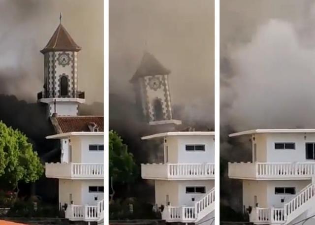 Vídeo: Igreja desaba com força de vulcão em La Palma
